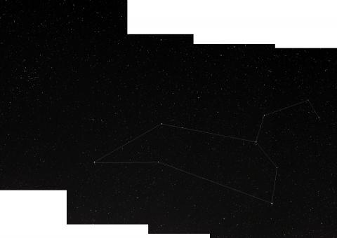 Das Sternbild Löwe mit Markierungen